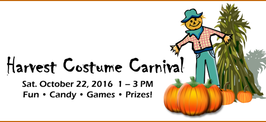 Harvest Costume Carnival, October 22, 2016, 1-3 PM